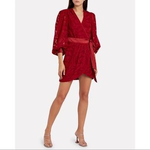 Jonathan Simkhai • Fil Coupé Wrap Mini Dress Red